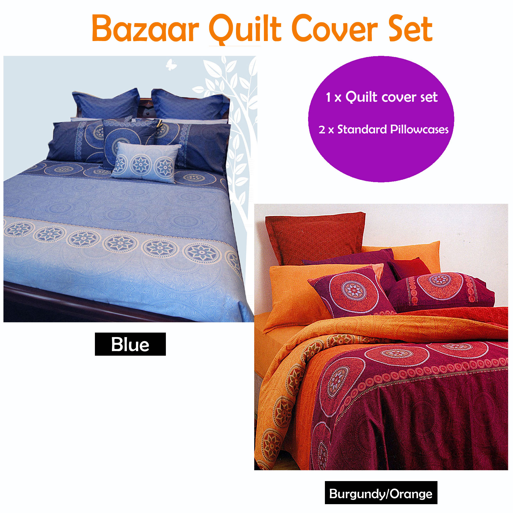 100-Cotton-BAZAAR-Quilt-Cover-Set-Eurocases-Cushion-SINGLE-DOUBLE-QUEEN-KING