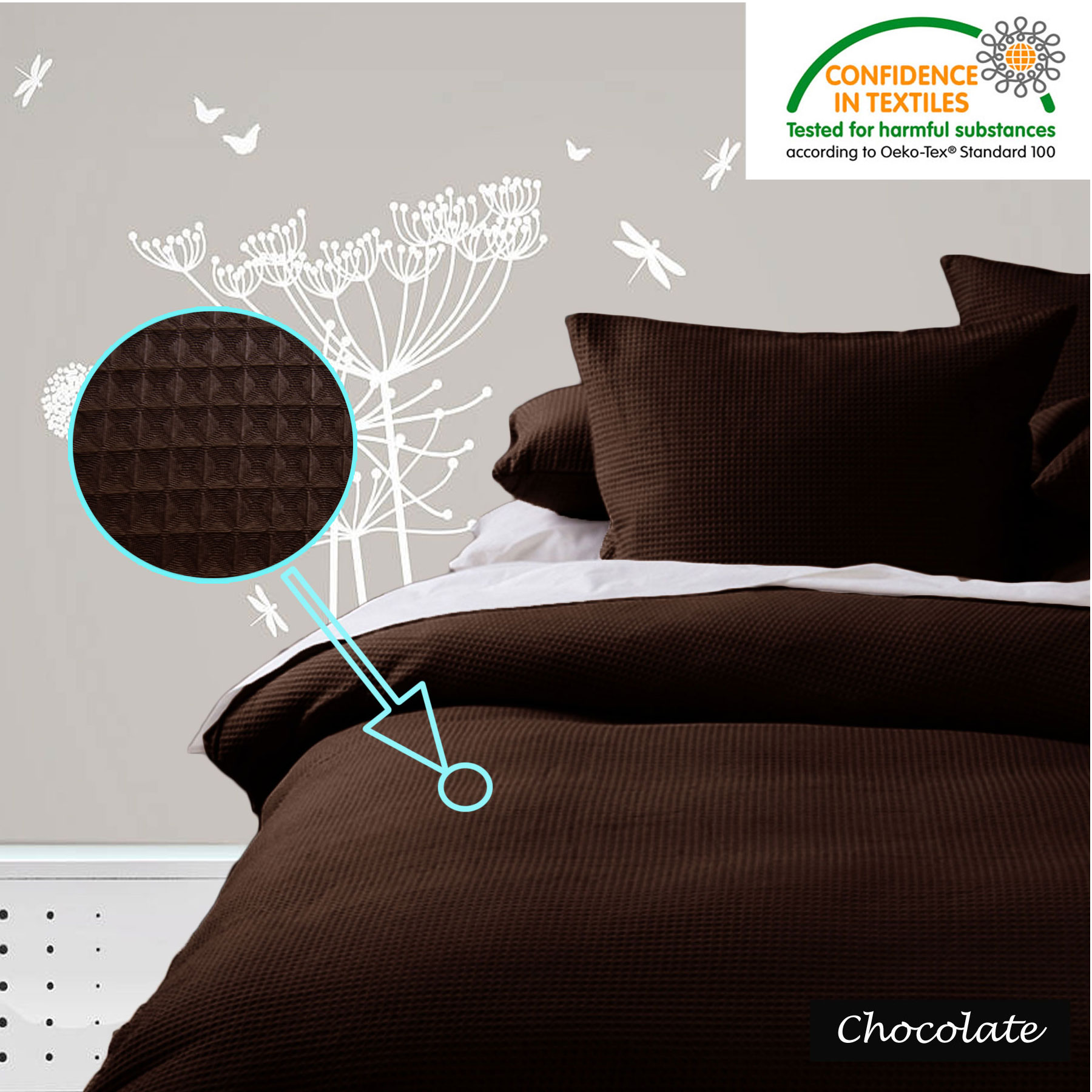 Waffle Quilt Cover Set Black White Linen Chocolate