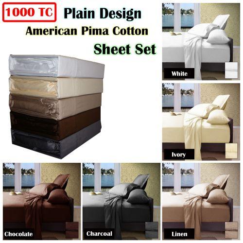 1000TC American Pima Cotton Plain Design Sheet Set by Ramesses