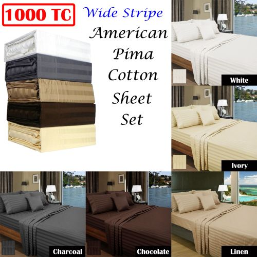 1000TC American Pima Cotton Wide Stripe Sheet Set by Ramesses