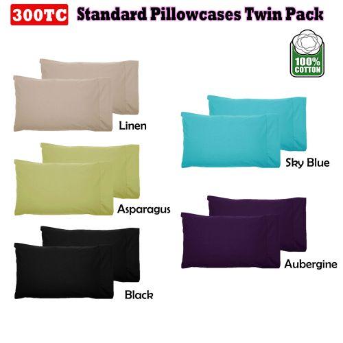 300TC Cotton Standard Pillowcases ( Pair )