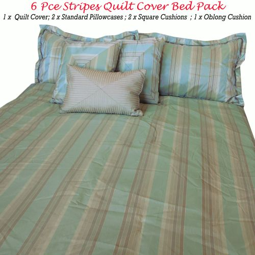 6 Pce Stripes Quilt Cover Bed Pack Queen
