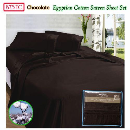 875TC Egyptian Cotton Sateen Sheet Set Chocolate Queen by Fieldcrest
