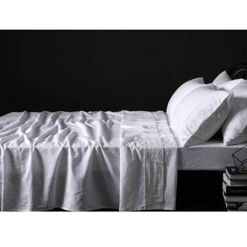 100% Linen White Sheet Set by Vintage Design Homewares