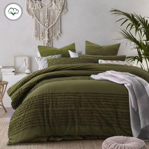 Betty Olive Cotton Quilt Cover Set by Accessorize