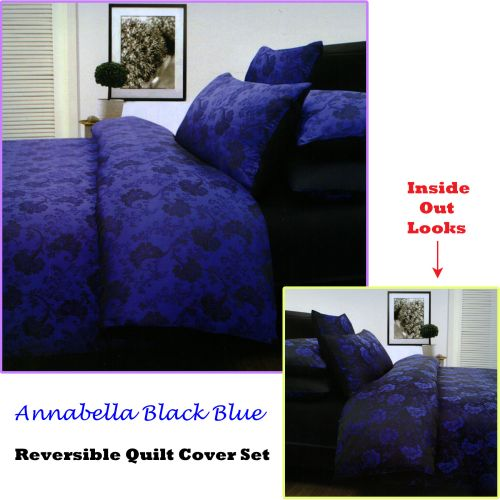 Annabella Reversible Quilt Cover Set Black Blue by Accessorize