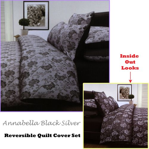 Annabella Reversible Quilt Cover Set Black Silver by Accessorize
