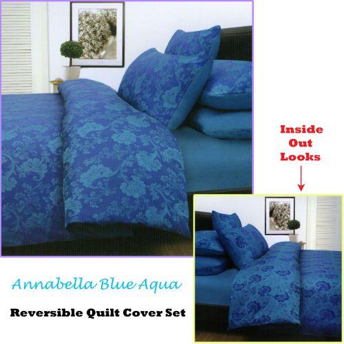 Annabella Reversible Quilt Cover Set Blue Aqua by Accessorize
