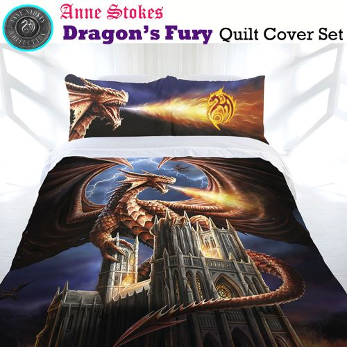 Dragon's Fury Quilt Cover Set by Anne Stokes