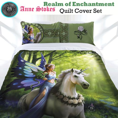 Realm of Enchantment Quilt Cover Set by Anne Stokes