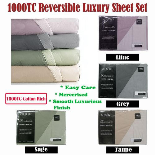 1000TC Cotton Rich Reversible Sheet Set by Ardor