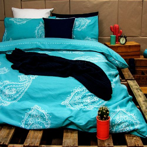 Paize Turquoise Reversible Quilt Cover Set by Ardor