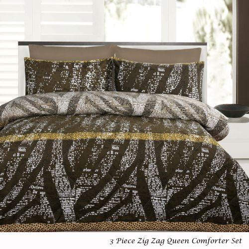 3 Piece Zig Zag Queen Comforter Set by Accessorize