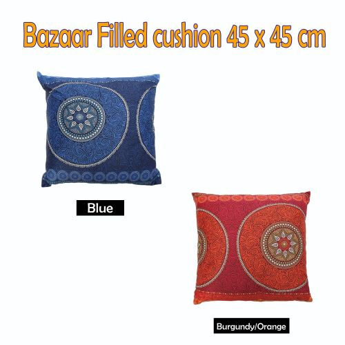 Bazaar Filled Cushion Square - BLUE