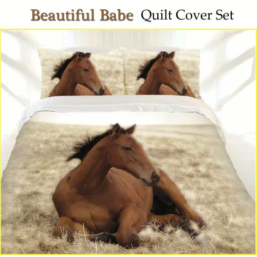 Beautiful Babe Horse Quilt Cover Set by Just Home