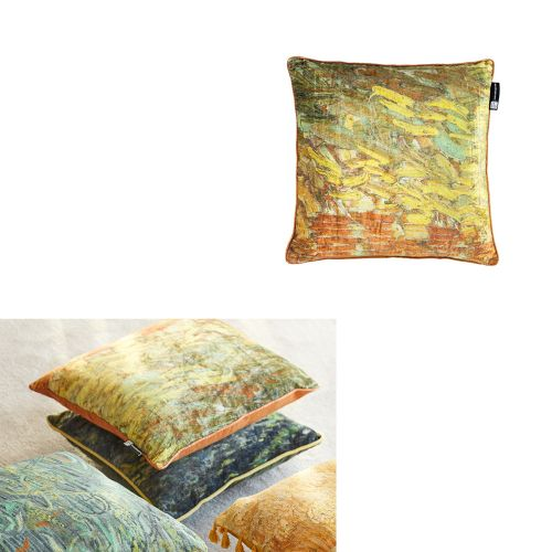 Van Gogh Paint Ochre Filled Square Cushion by Bedding House