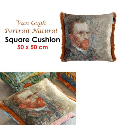 Van Gogh Portrait Natural Filled Square Cushion by Bedding House