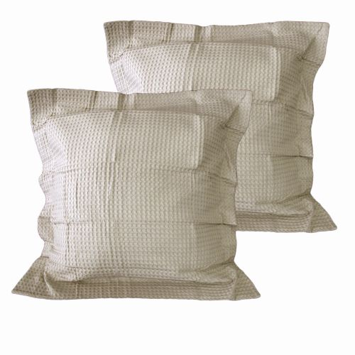 Pair of Chunky Waffle Cotton European Pillowcases Linen Color by Belmondo