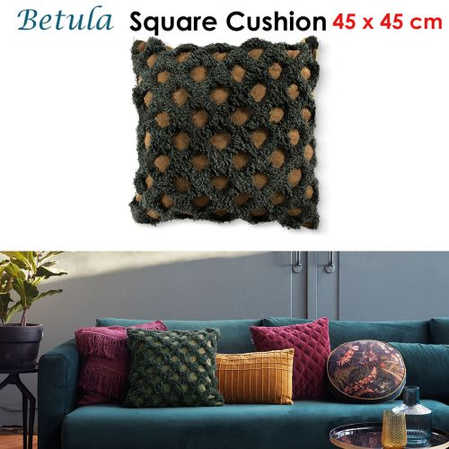 Betula Green Filled Square Cushion by Bedding House
