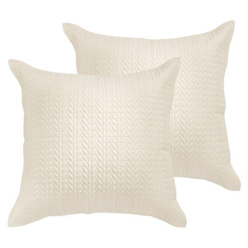 Pair of Amaya Cream Euro Pillowcases by Bianca