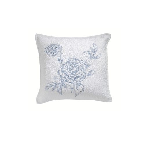 Elaine White Embroidered Square Filled Cushion by Bianca