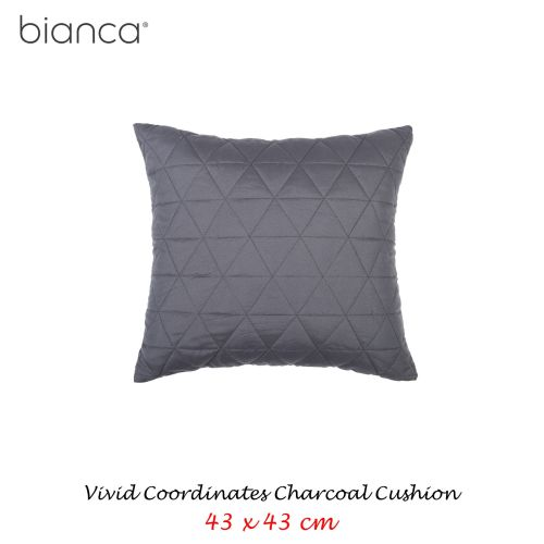 Floyd Charcoal Square Filled Cushion by Bianca