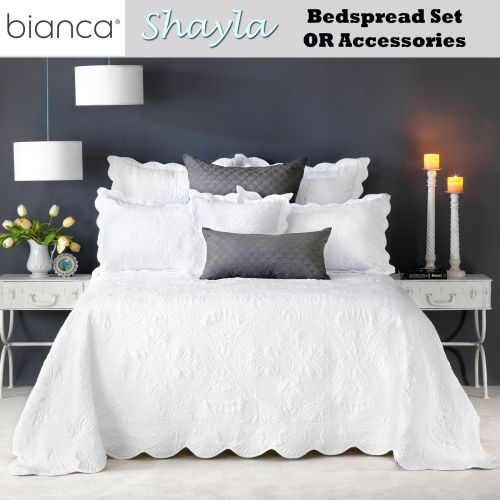 Shayla White Embroidered Bedspread Set by Bianca