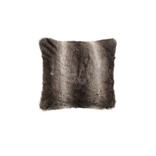 Wolf Faux Fur Square Filled Cushion by Bianca