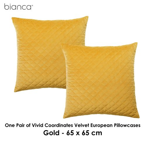 Pair of Vivid Coordinates Velvet Gold European Pillowcases by Bianca Elegance