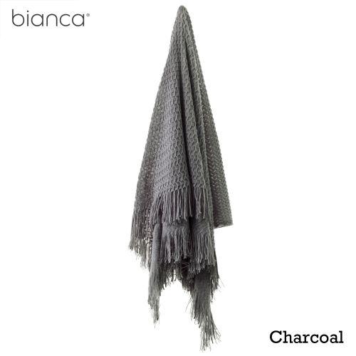 Declan Throw Rug 130 x 170 cm Charcoal by Bianca