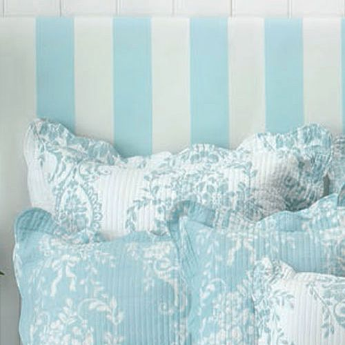 Florence White Blue Euro Pillowcases in Pair by Bianca