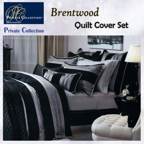 Brentwood Black Quilt Cover Set by Private Collection
