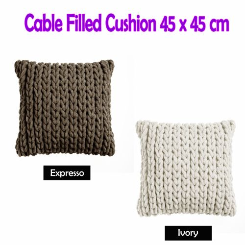 Cable Appliqued Filled Cushion 45cm x 45cm