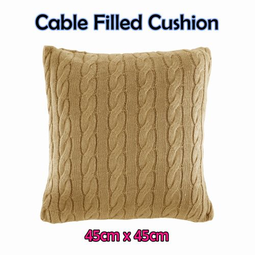 Cable Filled Cushion Fawn by Rapee