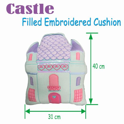 Castle Shape Filled Embroidered Cushion by Linen House