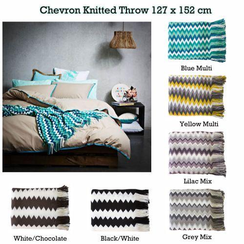 Chevron Knitted Throw 127 x 152 cm by IDC Homewares