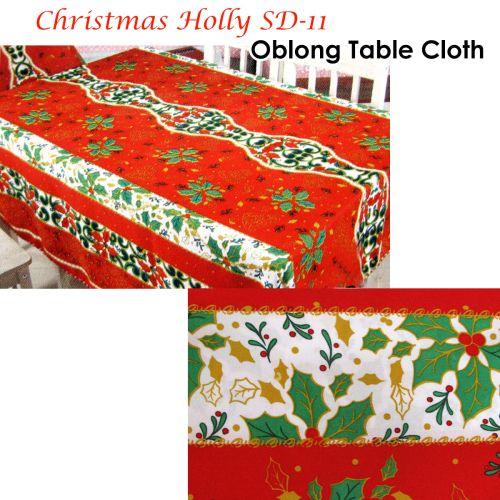Christmas Holly Rectangular Table Cloth SD11