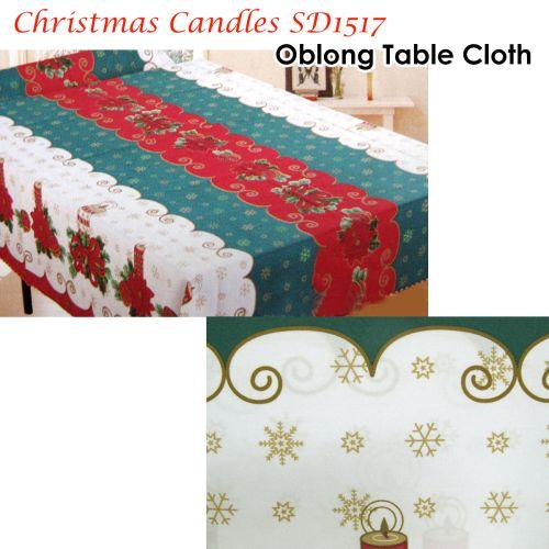 Christmas Candles Rectangular Table Cloth SD1517 150cm x 300cm