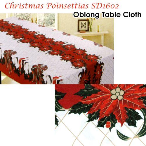 Christmas Poinsettias Rectangular Table Cloth SD1602