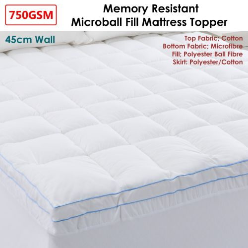 750GSM Memory Resistant Microball Fill Mattress Topper by Cloudland