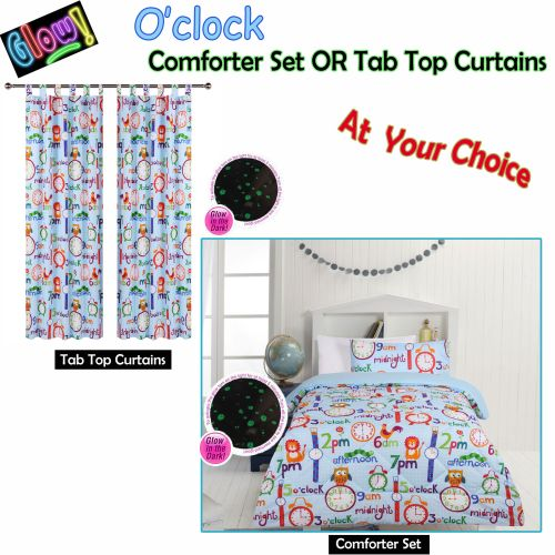 Glow In The Dark O'clock Comforter Set or Tab Top Curtains by Happy Kids