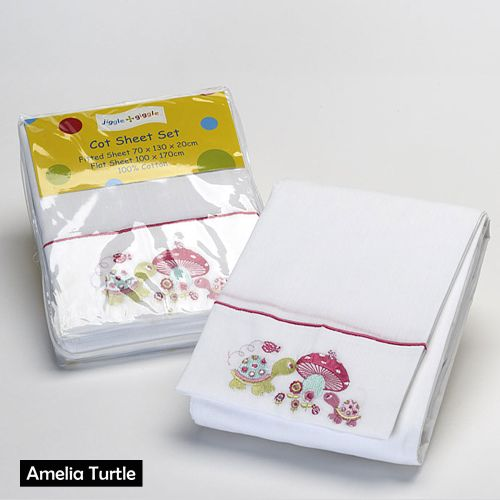 Amelia Turtle Cot Bed Sheets by Jiggle & Giggle