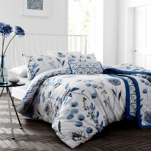Ink Floral Blue Cotton Rich Quilt Cover Set