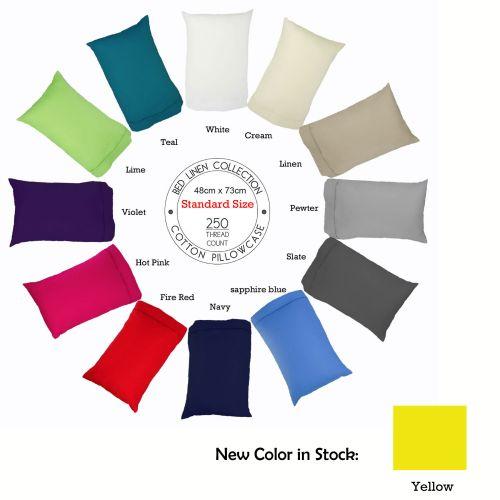 250TC Cotton Pillowcase Choose Your Size & Color by Easyrest