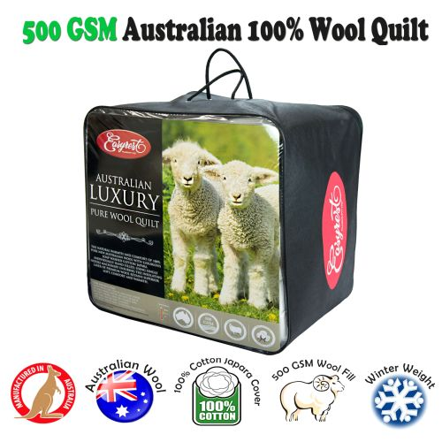 500GSM Winter Weight Australian Made Washable Wool Quilt by EasyRest