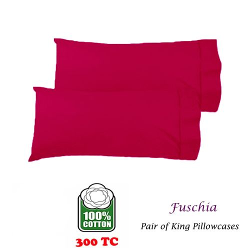 300TC Pair of Cotton King Pillowcases Fuschia by Easyrest