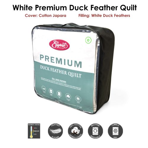 300gsm Washable White Duck Feather Quilt by EasyRest