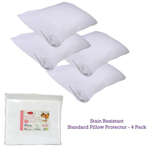Stain Resistant Standard Pillow Protectors 4 Pack by Easyrest