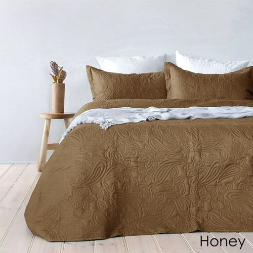 Paisley Embossed Queen / King Sized Coverlet Set Choose Your Color by Bambury