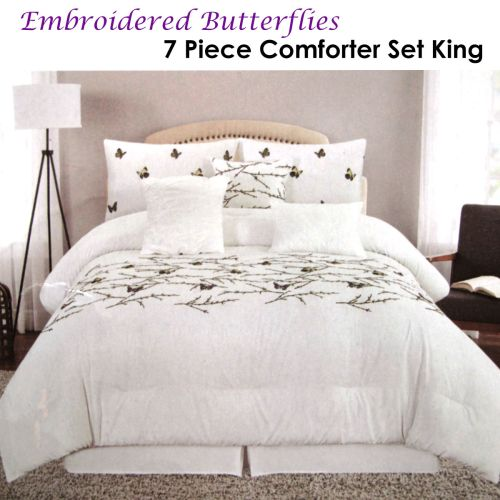 Butterflies Embroidered White 7 Piece Comforter Set King